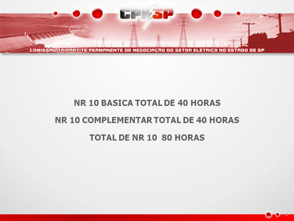 NR 10 BASICA TOTAL DE 40 HORAS NR 10 COMPLEMENTAR TOTAL DE 40 HORAS