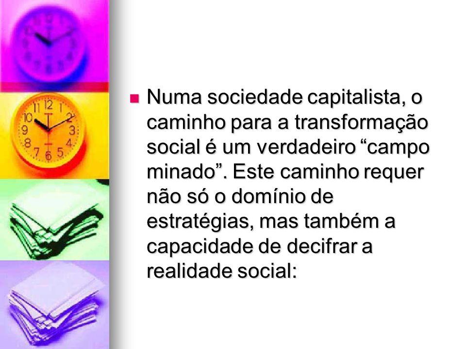 Numa sociedade capitalista, o caminho para a transformação social é um verdadeiro campo minado .