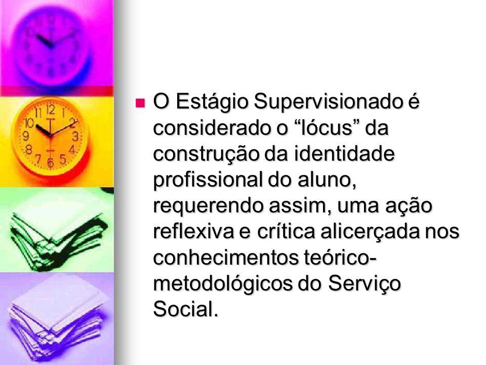 O Estágio Supervisionado é considerado o lócus da construção da identidade profissional do aluno, requerendo assim, uma ação reflexiva e crítica alicerçada nos conhecimentos teórico-metodológicos do Serviço Social.
