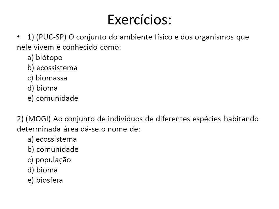 Exercícios: 1) (PUC-SP) O conjunto do ambiente físico e dos organismos que. nele vivem é conhecido como: