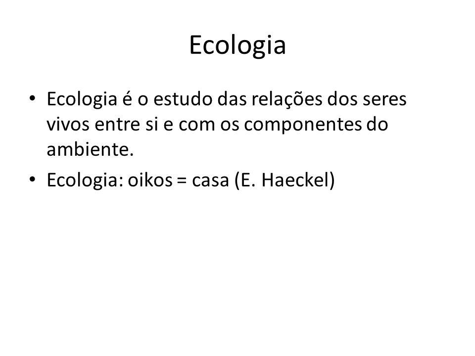 Ecologia Ecologia é o estudo das relações dos seres vivos entre si e com os componentes do ambiente.