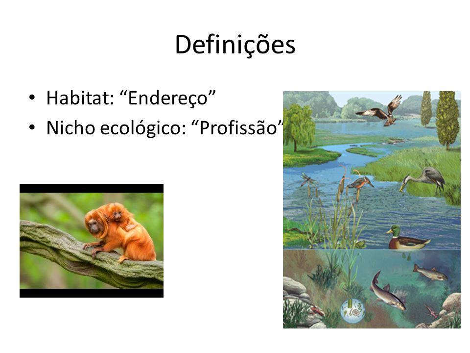 Definições Habitat: Endereço Nicho ecológico: Profissão