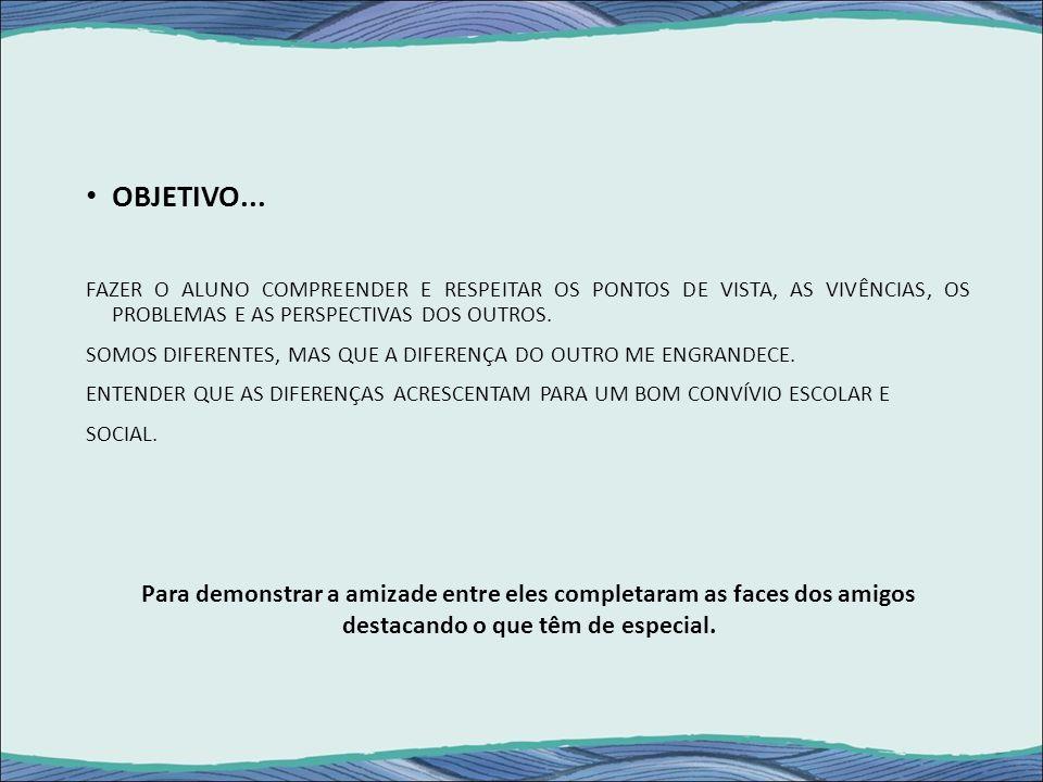 OBJETIVO... FAZER O ALUNO COMPREENDER E RESPEITAR OS PONTOS DE VISTA, AS VIVÊNCIAS, OS PROBLEMAS E AS PERSPECTIVAS DOS OUTROS.