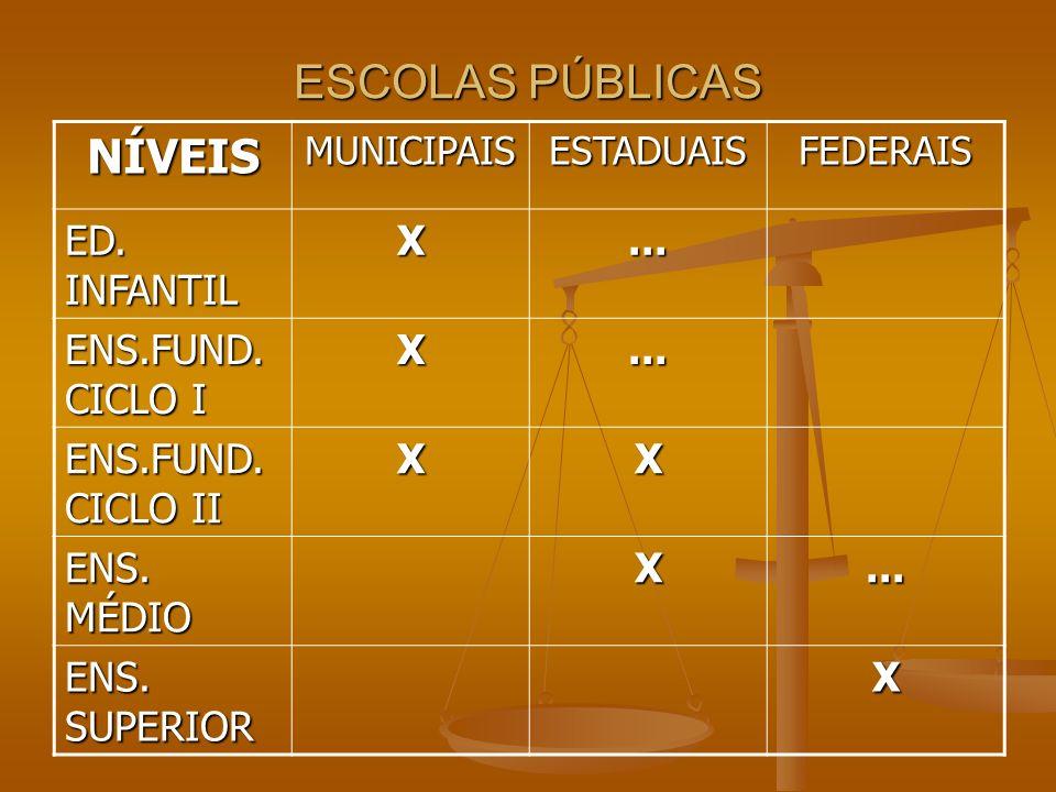 ESCOLAS PÚBLICAS NÍVEIS ED. INFANTIL X ... ENS.FUND. CICLO I