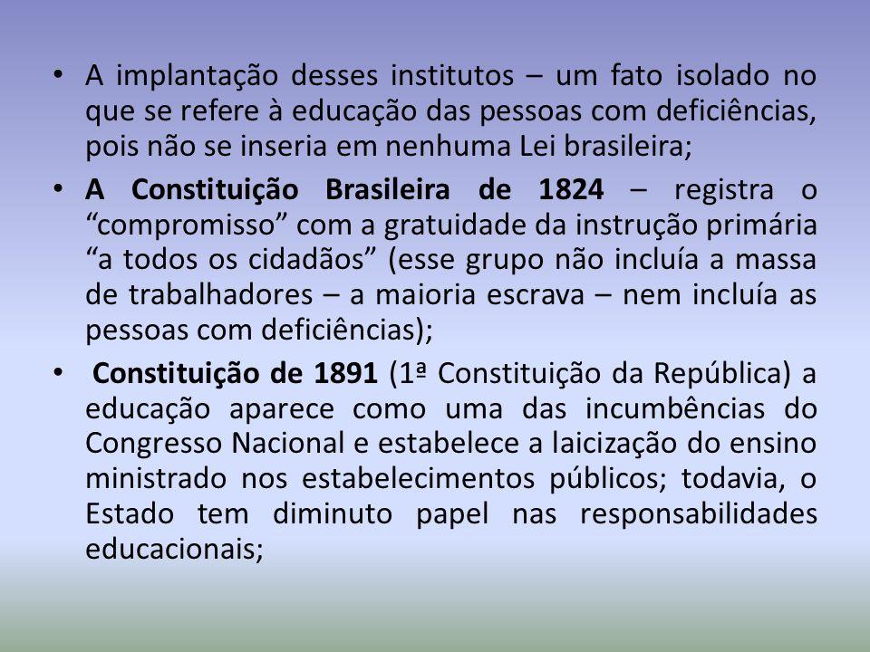 A implantação desses institutos – um fato isolado no que se refere à educação das pessoas com deficiências, pois não se inseria em nenhuma Lei brasileira;