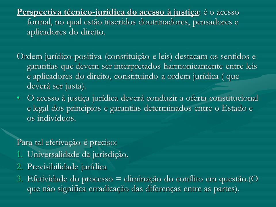 Perspectiva técnico-jurídica do acesso à justiça: é o acesso formal, no qual estão inseridos doutrinadores, pensadores e aplicadores do direito.