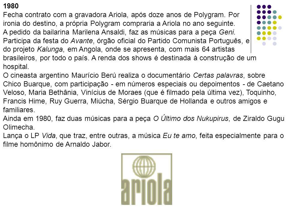 1980Fecha contrato com a gravadora Ariola, após doze anos de Polygram. Por.