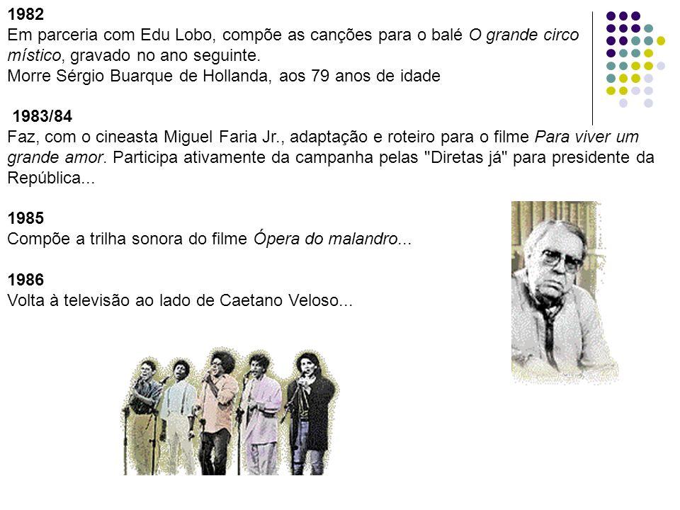 1982 Em parceria com Edu Lobo, compõe as canções para o balé O grande circo. místico, gravado no ano seguinte.