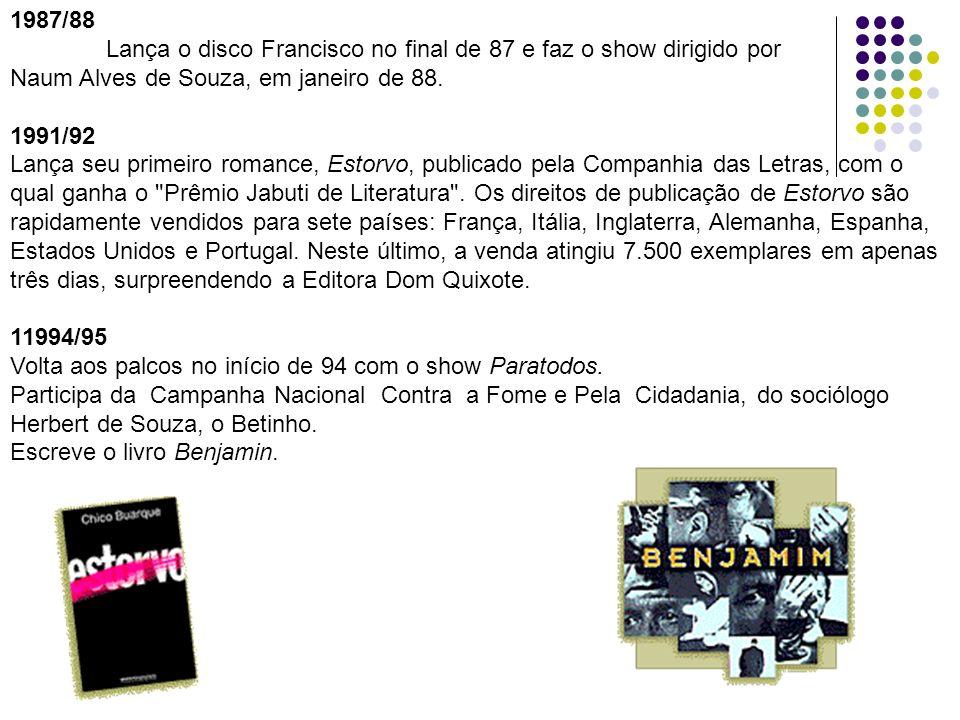 1987/88Lança o disco Francisco no final de 87 e faz o show dirigido por. Naum Alves de Souza, em janeiro de 88.