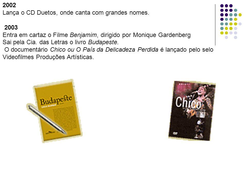 2002Lança o CD Duetos, onde canta com grandes nomes. 2003. Entra em cartaz o Filme Benjamim, dirigido por Monique Gardenberg.