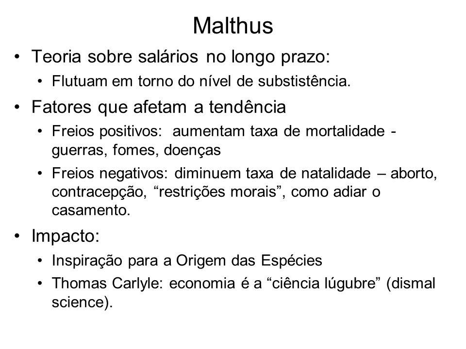 Malthus Teoria sobre salários no longo prazo: