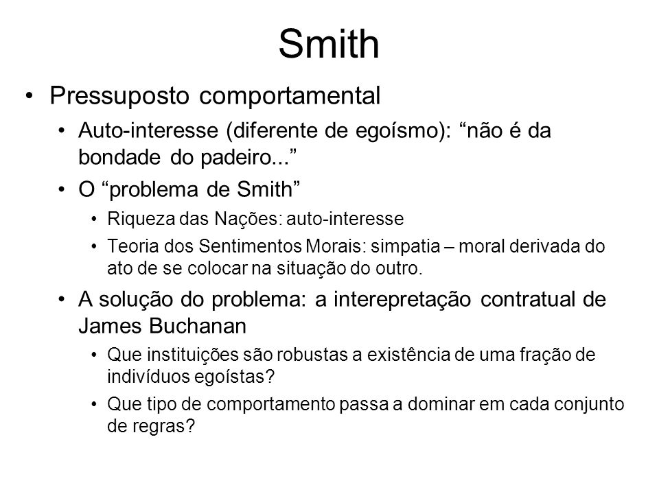 Smith Pressuposto comportamental