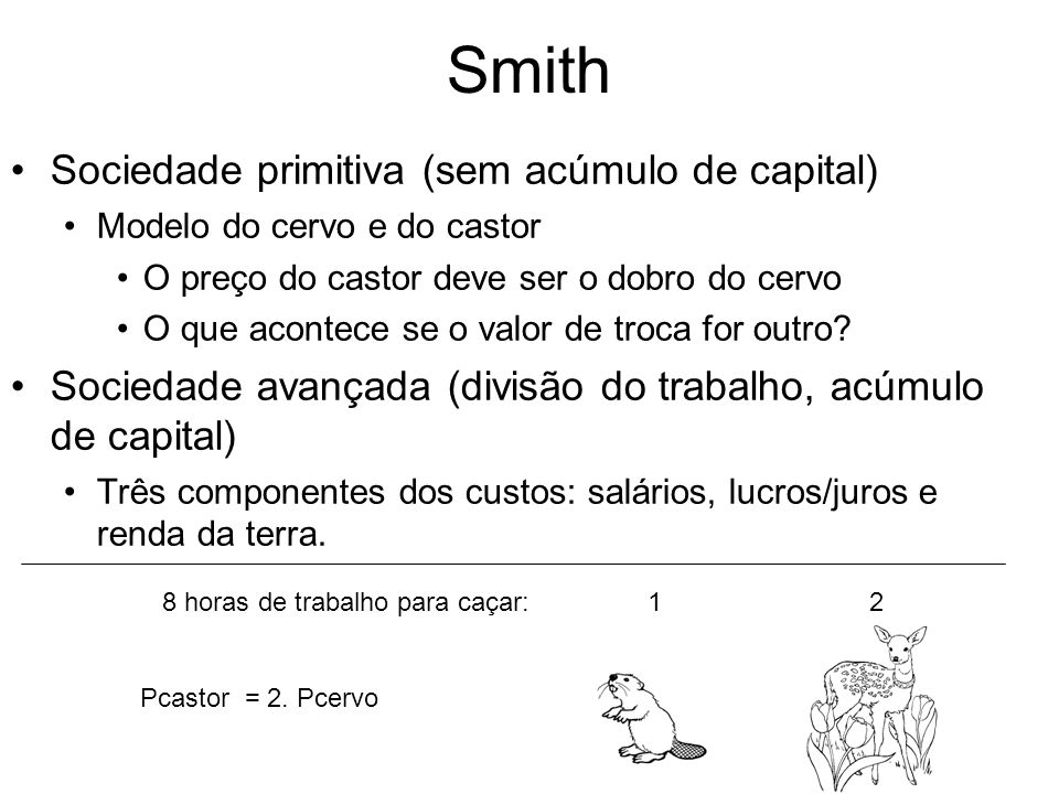Smith Sociedade primitiva (sem acúmulo de capital)