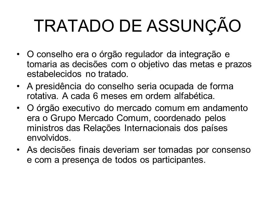 TRATADO DE ASSUNÇÃO O conselho era o órgão regulador da integração e tomaria as decisões com o objetivo das metas e prazos estabelecidos no tratado.