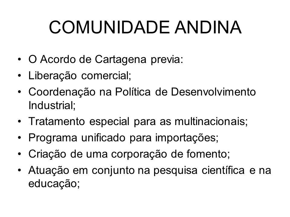 COMUNIDADE ANDINA O Acordo de Cartagena previa: Liberação comercial;