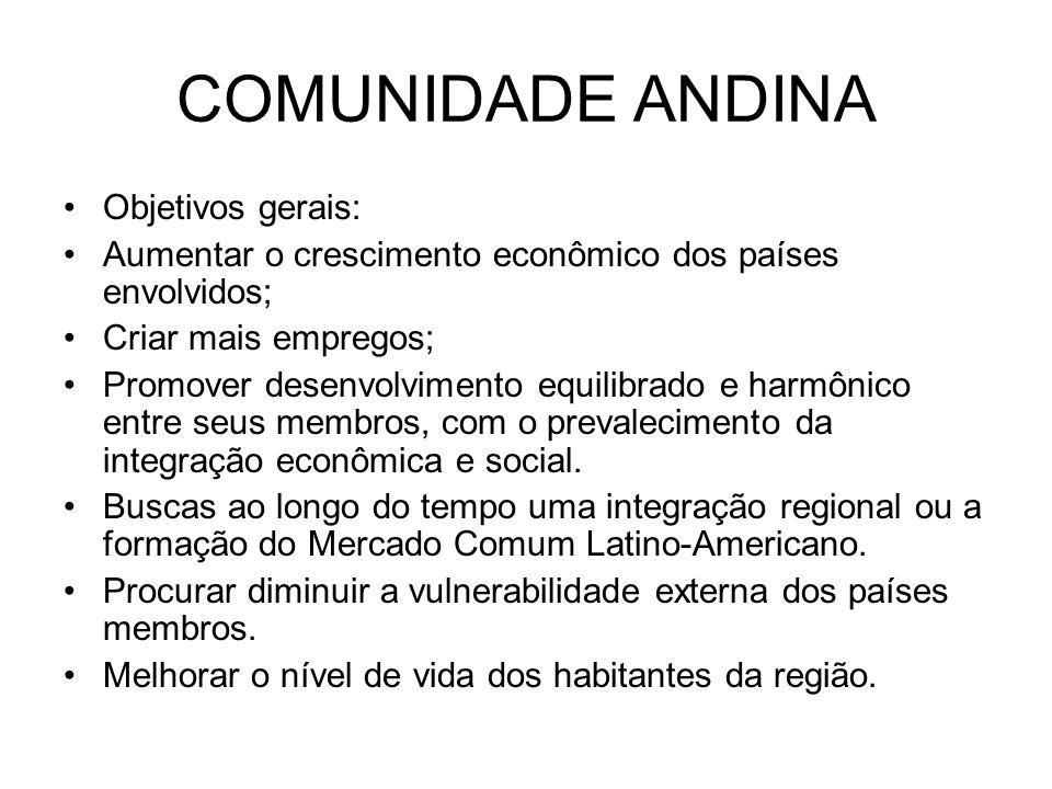 COMUNIDADE ANDINA Objetivos gerais: