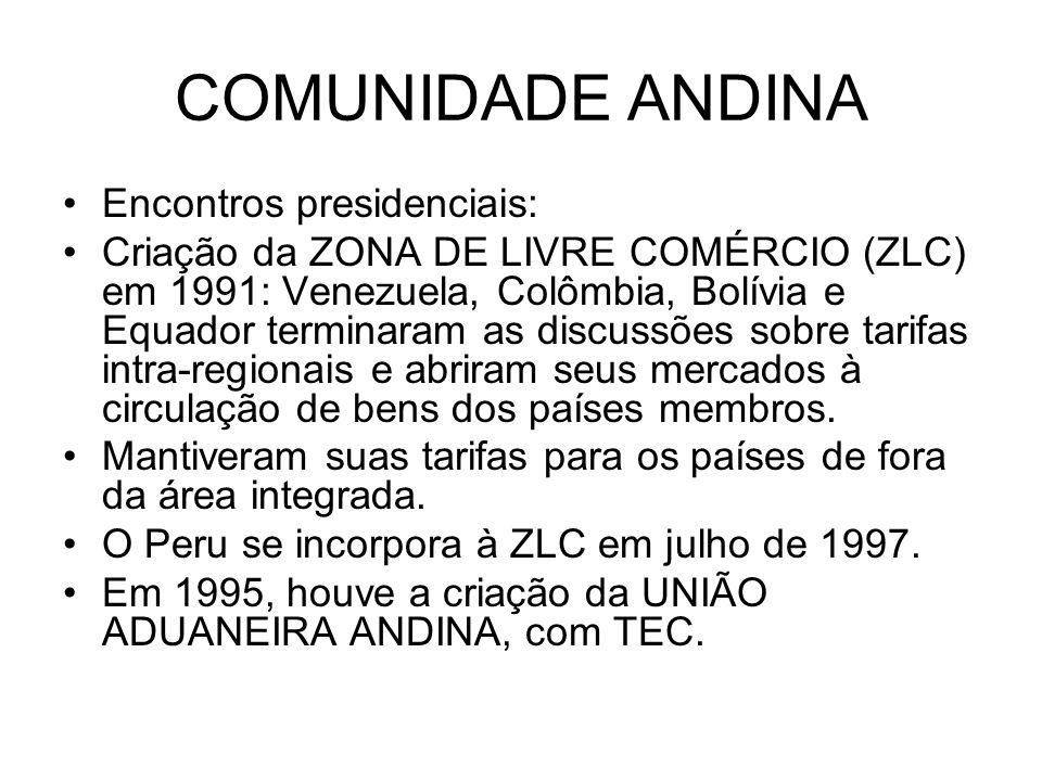 COMUNIDADE ANDINA Encontros presidenciais: