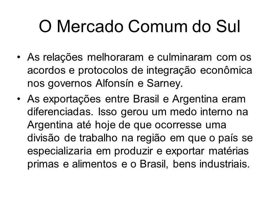 O Mercado Comum do Sul As relações melhoraram e culminaram com os acordos e protocolos de integração econômica nos governos Alfonsín e Sarney.