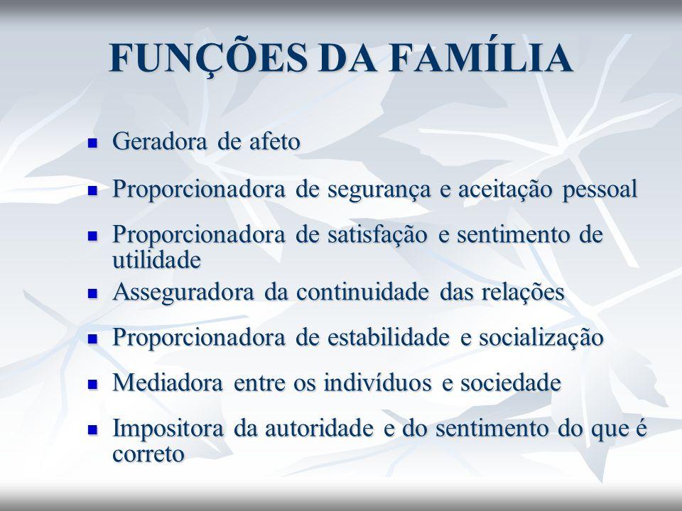 FUNÇÕES DA FAMÍLIA Geradora de afeto