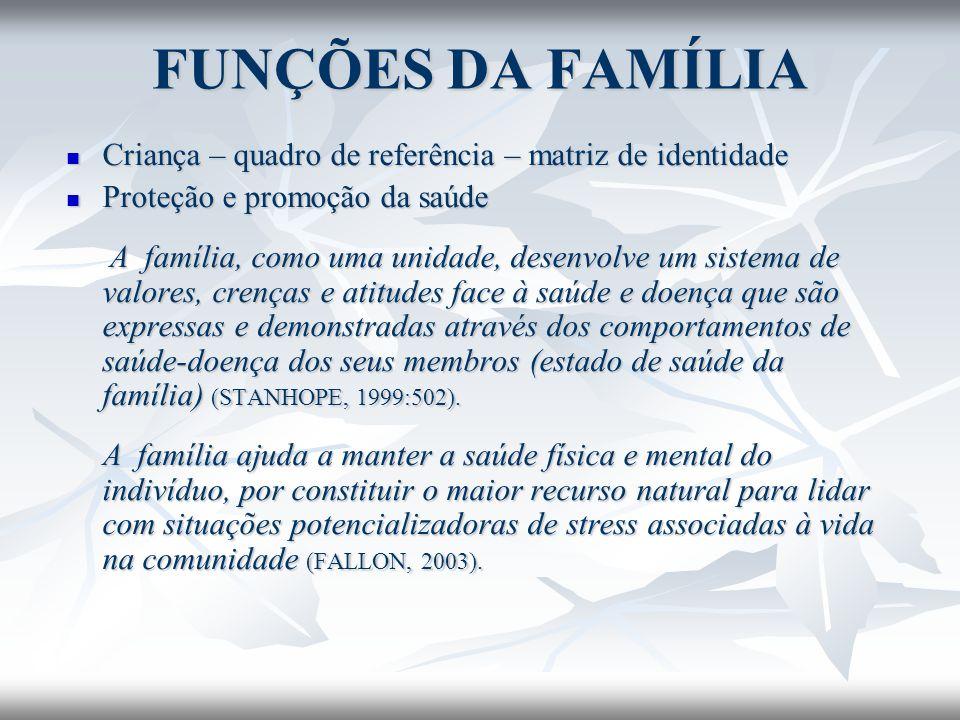 FUNÇÕES DA FAMÍLIA Criança – quadro de referência – matriz de identidade. Proteção e promoção da saúde.