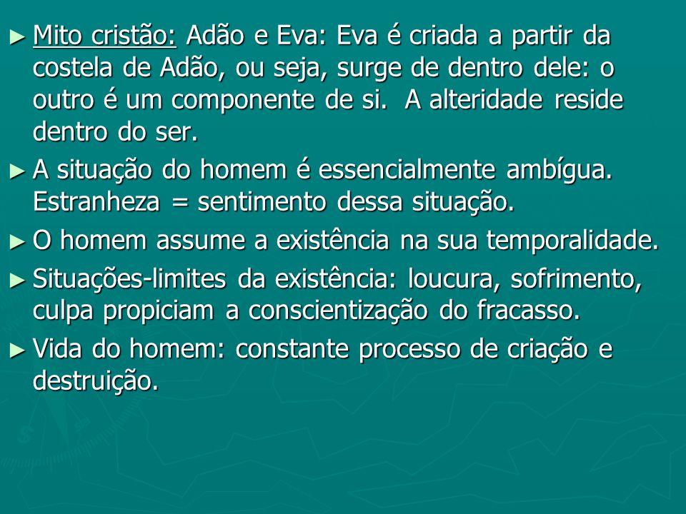Mito cristão: Adão e Eva: Eva é criada a partir da costela de Adão, ou seja, surge de dentro dele: o outro é um componente de si. A alteridade reside dentro do ser.