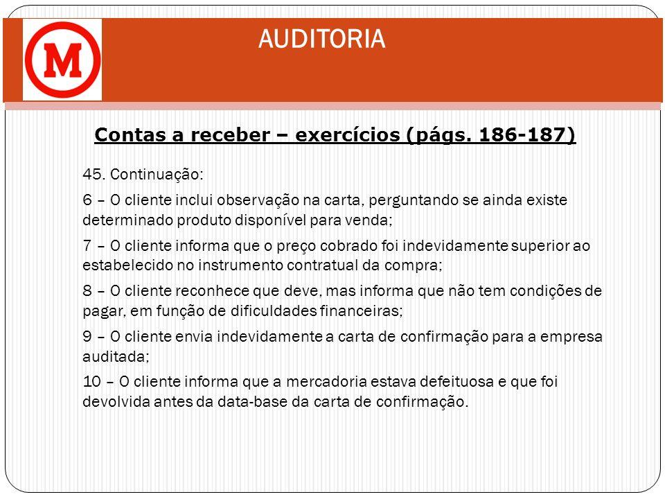Contas a receber – exercícios (págs. 186-187)