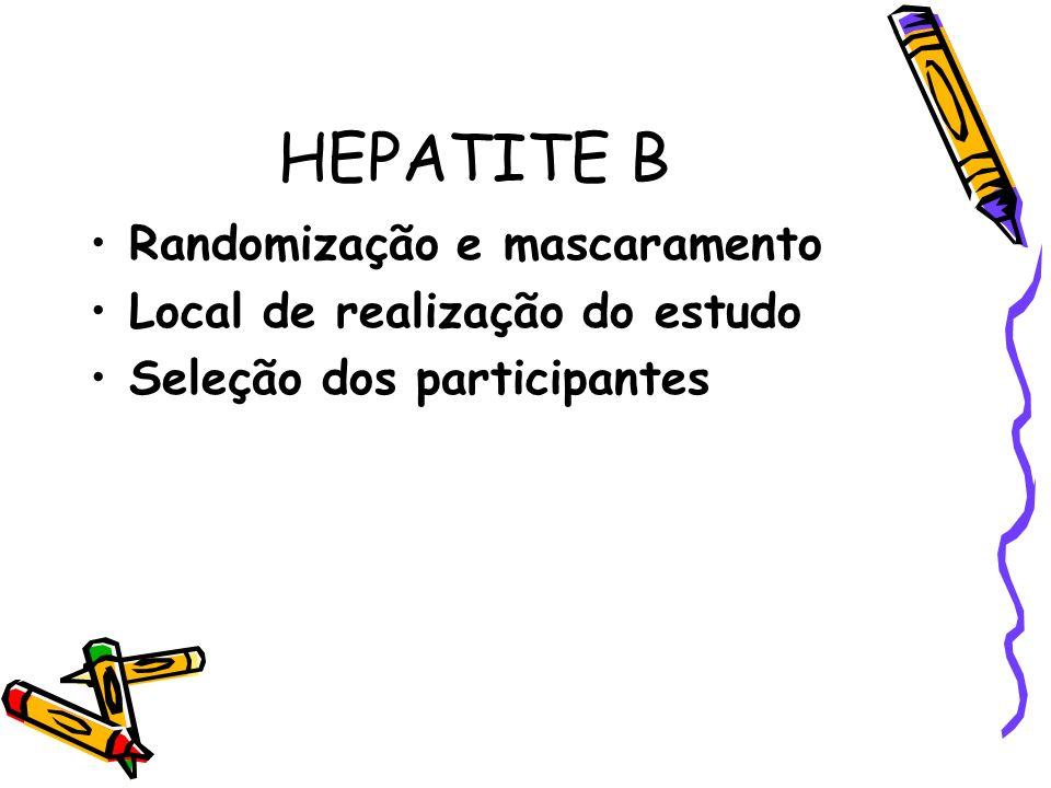 HEPATITE B Randomização e mascaramento Local de realização do estudo