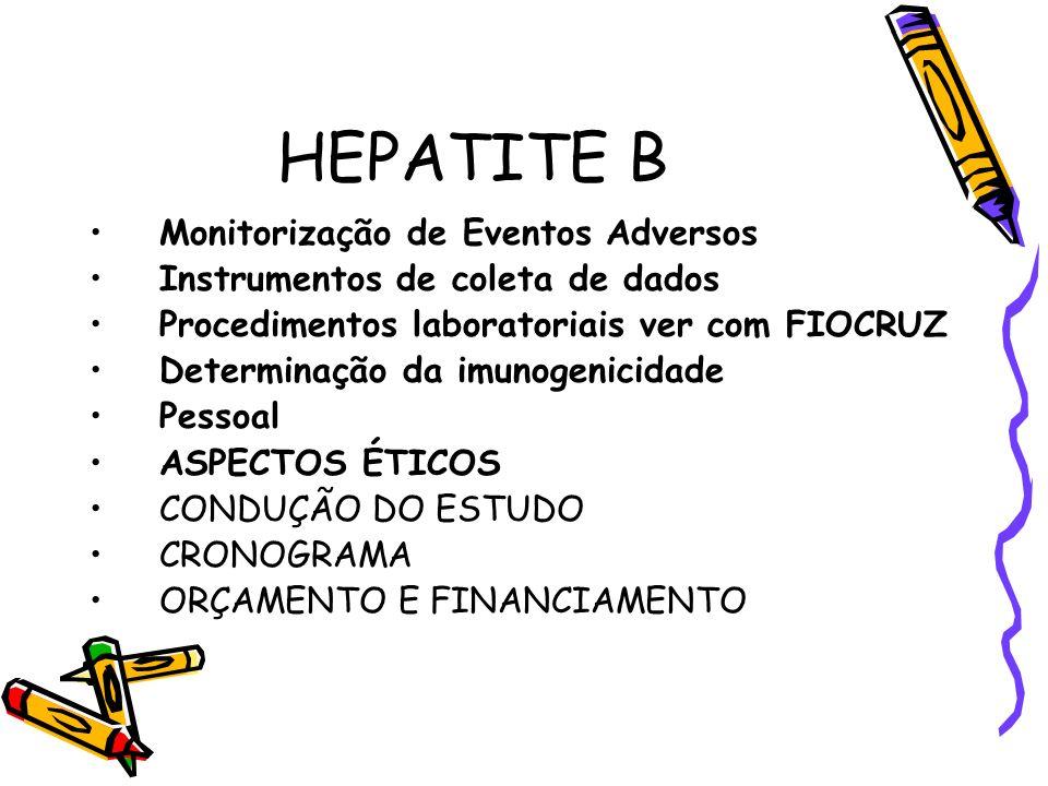 HEPATITE B Monitorização de Eventos Adversos