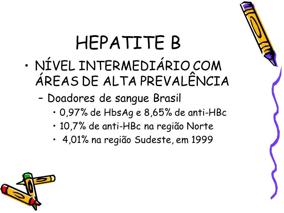 HEPATITE B NÍVEL INTERMEDIÁRIO COM ÁREAS DE ALTA PREVALÊNCIA