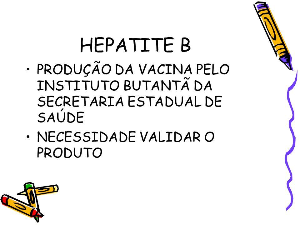 HEPATITE B PRODUÇÃO DA VACINA PELO INSTITUTO BUTANTÃ DA SECRETARIA ESTADUAL DE SAÚDE.