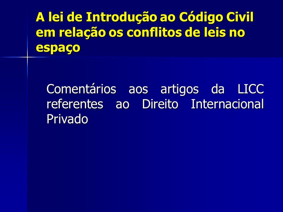 A lei de Introdução ao Código Civil em relação os conflitos de leis no espaço