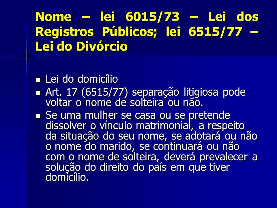 Nome – lei 6015/73 – Lei dos Registros Públicos; lei 6515/77 – Lei do Divórcio