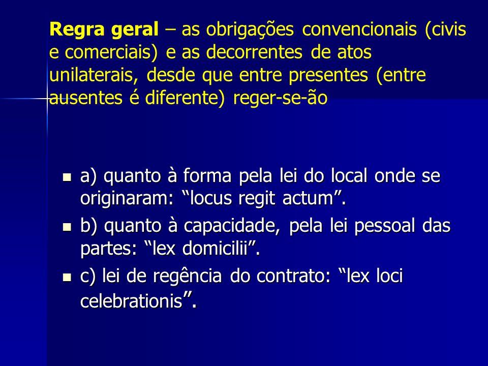 Regra geral – as obrigações convencionais (civis e comerciais) e as decorrentes de atos unilaterais, desde que entre presentes (entre ausentes é diferente) reger-se-ão
