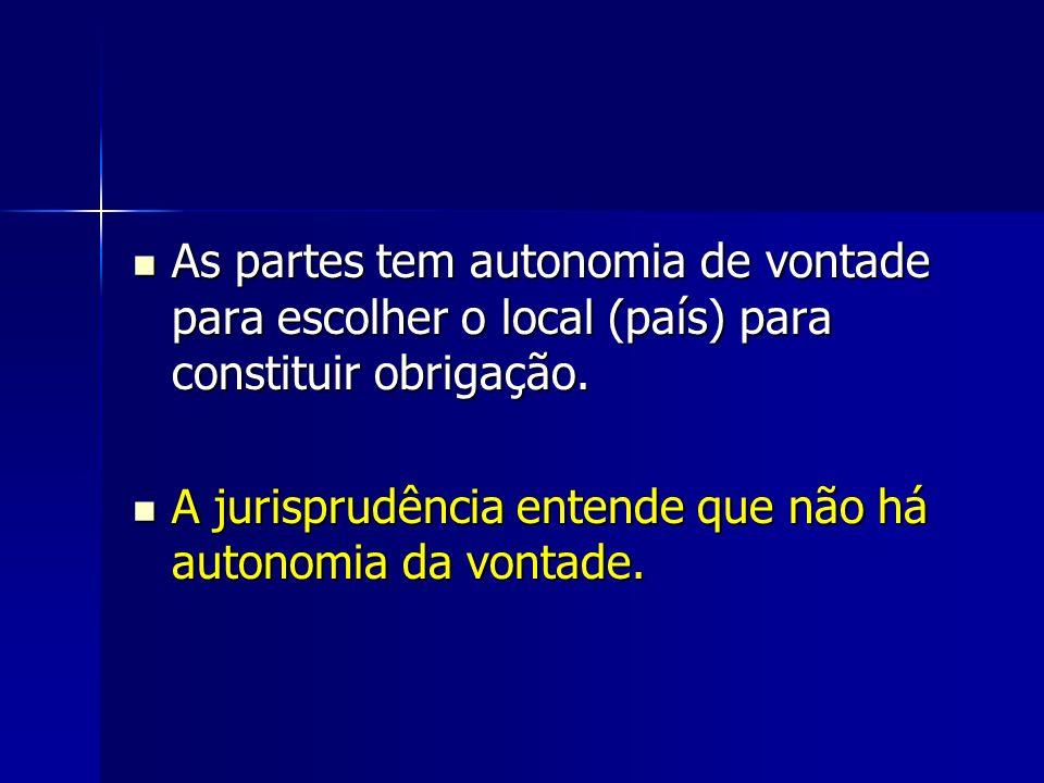As partes tem autonomia de vontade para escolher o local (país) para constituir obrigação.