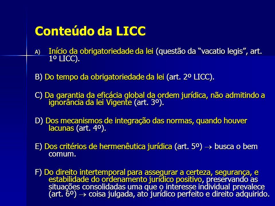 Conteúdo da LICC Início da obrigatoriedade da lei (questão da vacatio legis , art. 1º LICC). B) Do tempo da obrigatoriedade da lei (art. 2º LICC).