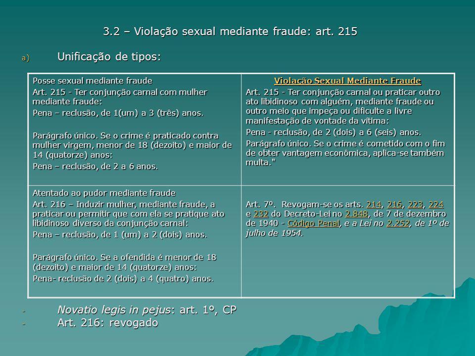 3.2 – Violação sexual mediante fraude: art. 215 Unificação de tipos: