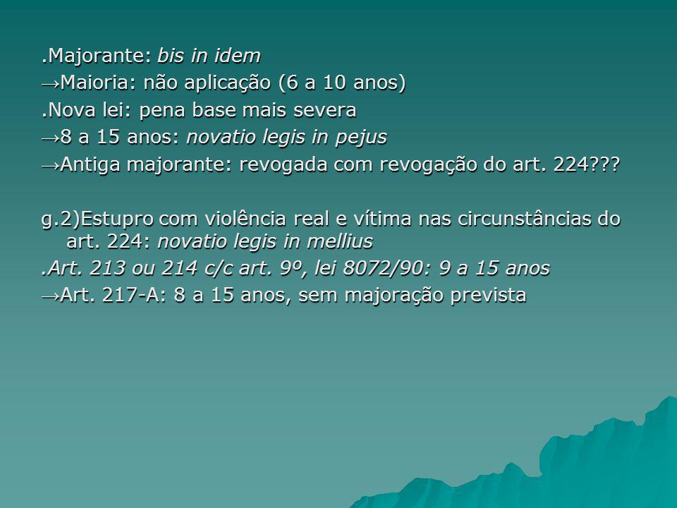 .Majorante: bis in idem→Maioria: não aplicação (6 a 10 anos) .Nova lei: pena base mais severa. →8 a 15 anos: novatio legis in pejus.