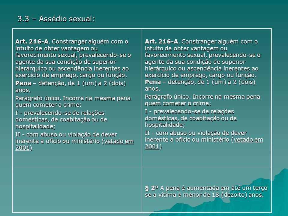 3.3 – Assédio sexual:
