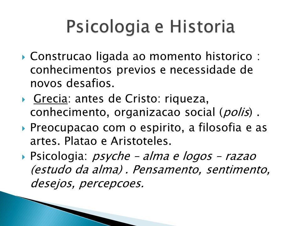 Psicologia e Historia Construcao ligada ao momento historico : conhecimentos previos e necessidade de novos desafios.