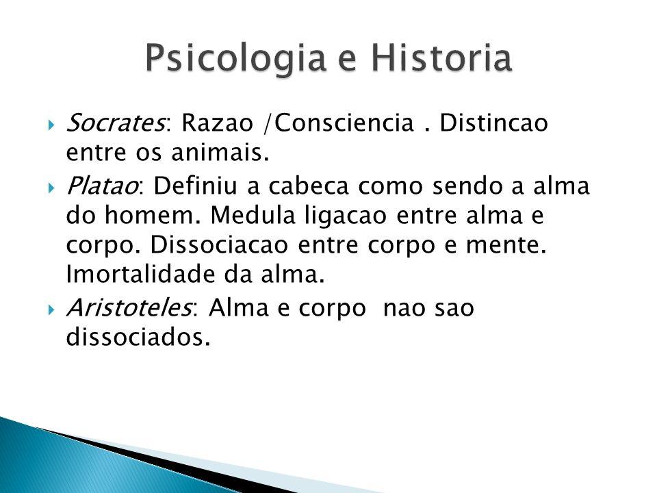 Psicologia e Historia Socrates: Razao /Consciencia . Distincao entre os animais.