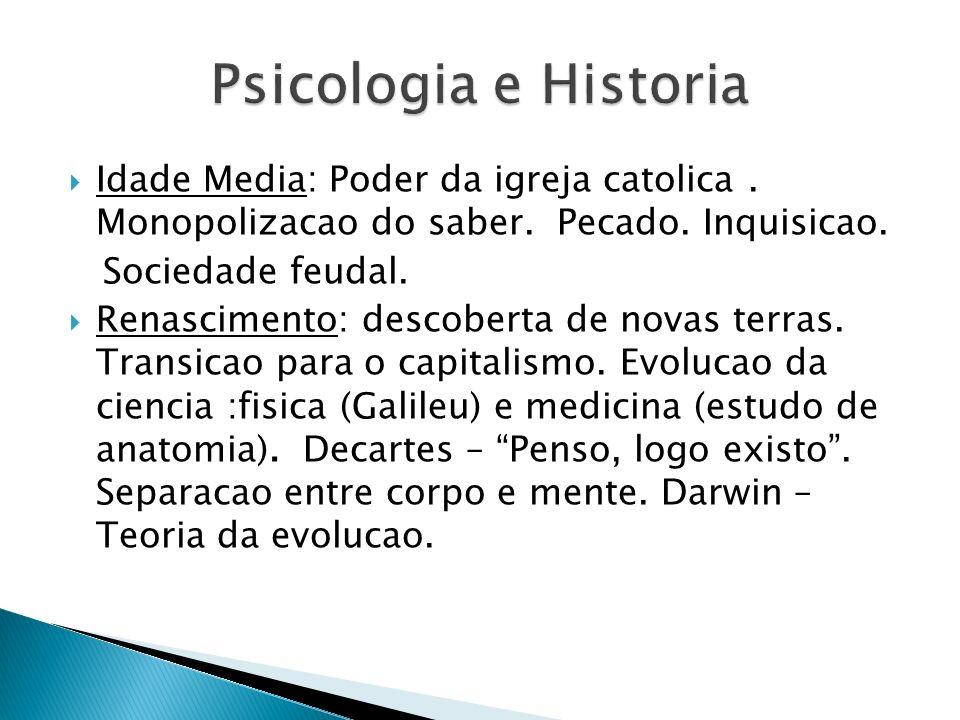 Psicologia e HistoriaIdade Media: Poder da igreja catolica . Monopolizacao do saber. Pecado. Inquisicao.