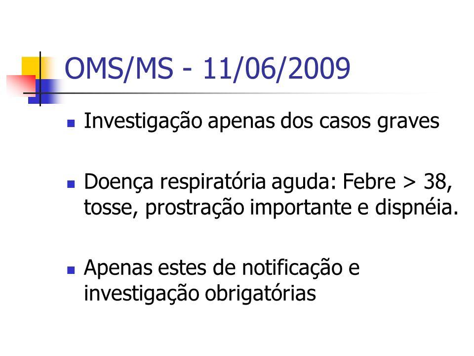 OMS/MS - 11/06/2009 Investigação apenas dos casos graves