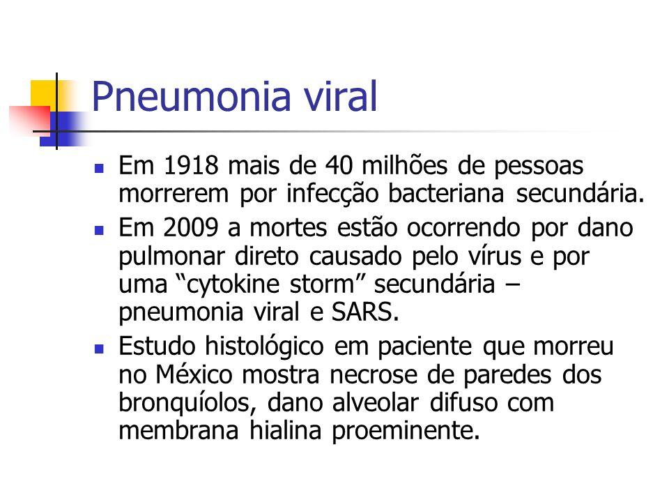 Pneumonia viral Em 1918 mais de 40 milhões de pessoas morrerem por infecção bacteriana secundária.