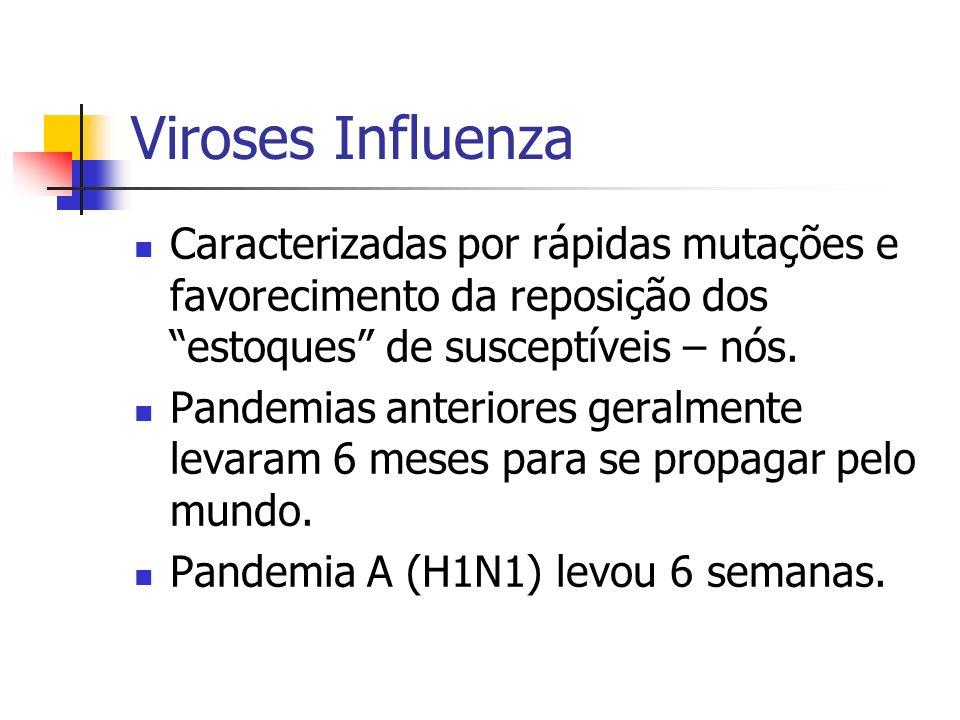 Viroses Influenza Caracterizadas por rápidas mutações e favorecimento da reposição dos estoques de susceptíveis – nós.