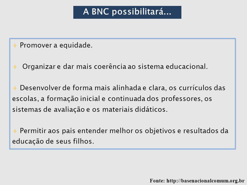 A BNC possibilitará... + Promover a equidade.