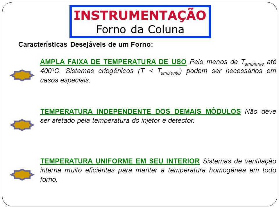 INSTRUMENTAÇÃO Forno da Coluna Características Desejáveis de um Forno: