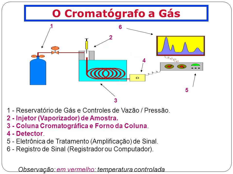 O Cromatógrafo a Gás 1. 2. 3. 4. 6. 5. 1 - Reservatório de Gás e Controles de Vazão / Pressão.