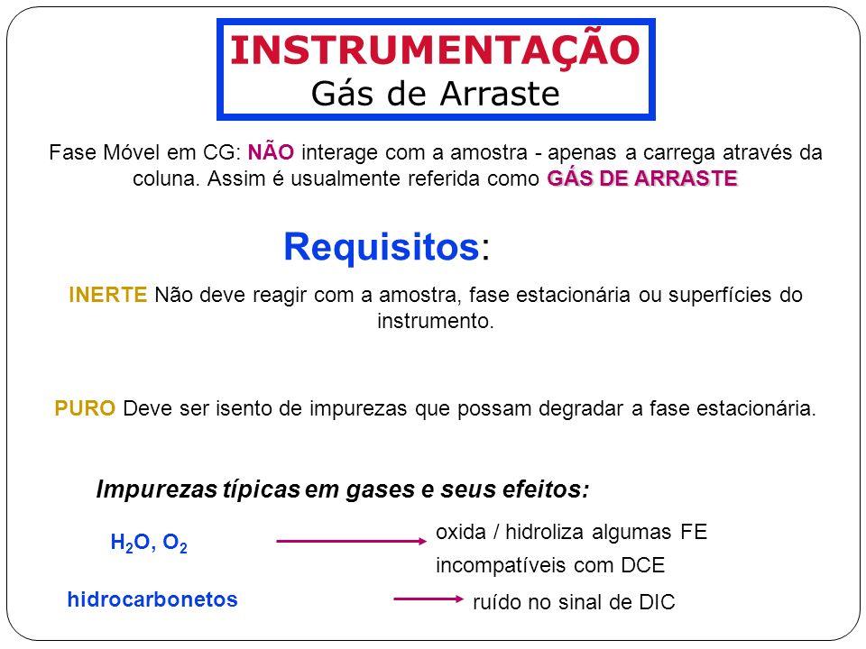 INSTRUMENTAÇÃO Requisitos: Gás de Arraste