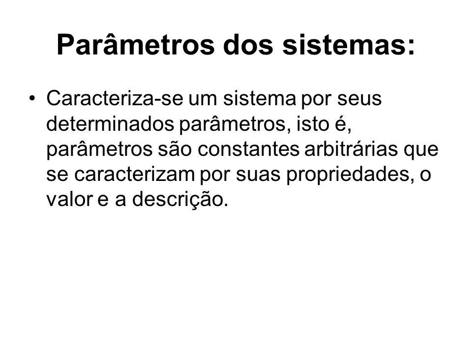 Parâmetros dos sistemas: