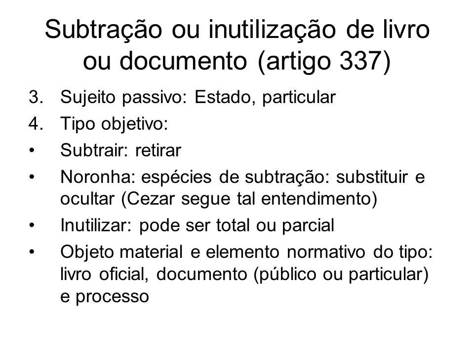 Subtração ou inutilização de livro ou documento (artigo 337)